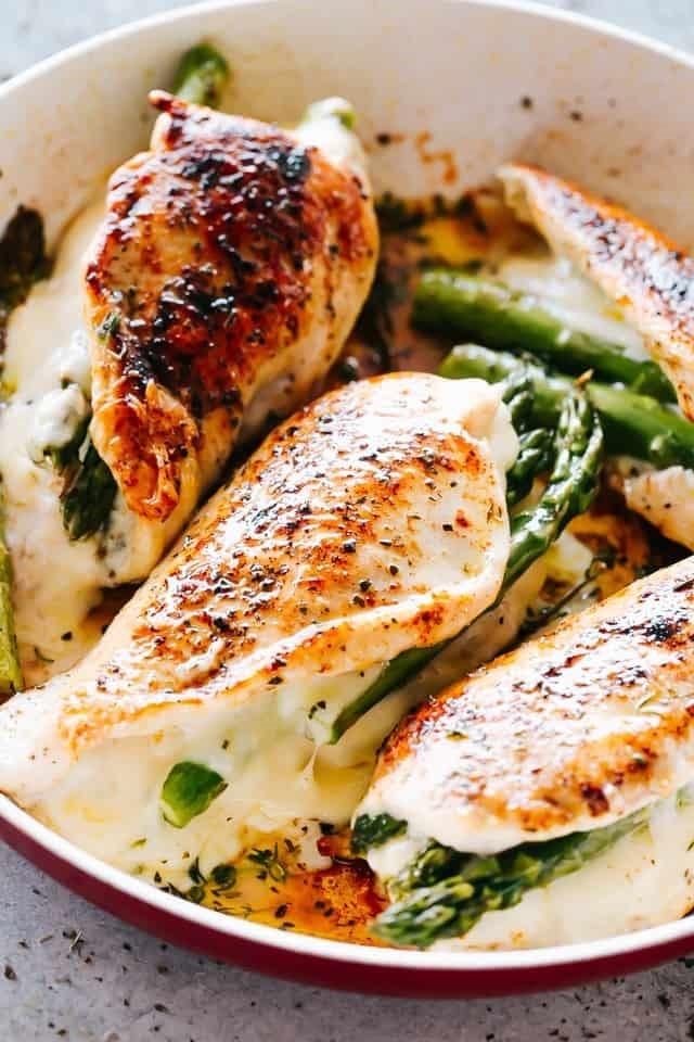 Cheesy Asparagus Stuffed Chicken  Breast
