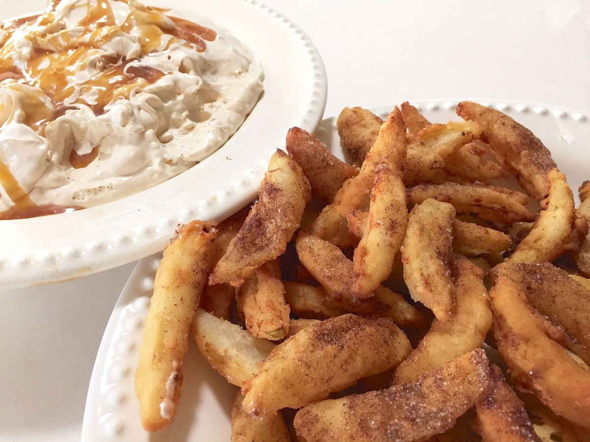 Apple fries with creamy caramel dip
